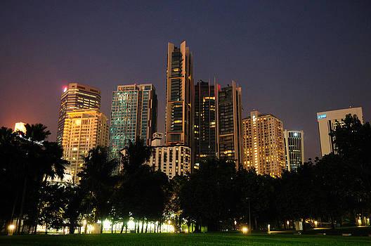 Kuala Lumpur at night by Arylana Art