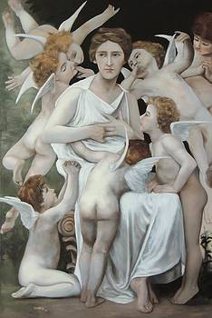 'La Assault' after Bouguereau  by Richard    J Thorpe