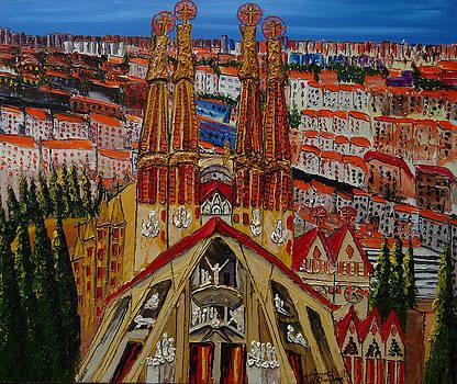 La Sagrada  Familia Church Of Barcelona Spain by Portland Art Creations