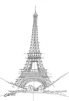La Tour Eiffel Sketch by Calvin Durham