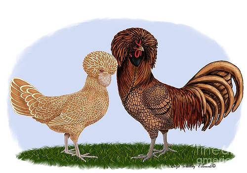 Laced Polish Rooster and Hen by Leigh Schilling