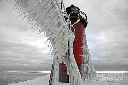Lady In Red South Haven Michigan Lighthouse Extreme Ice by Jack  Martin