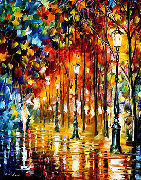 Lady In White 2 - PALETTE KNIFE Oil Painting On Canvas By Leonid Afremov by Leonid Afremov