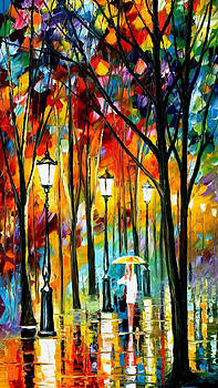 Lady In White - PALETTE KNIFE Oil Painting On Canvas By Leonid Afremov by Leonid Afremov