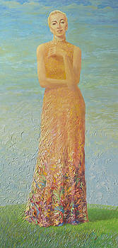 Lady on a green grass by Misha Lapitskiy