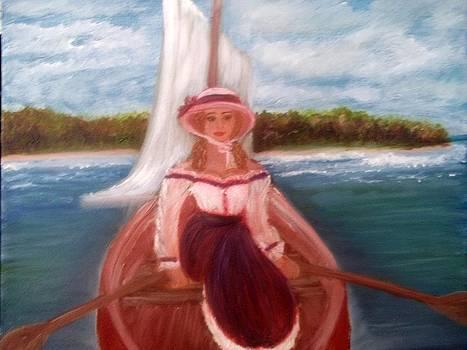 Lady on boat by Elizabeth Diaz