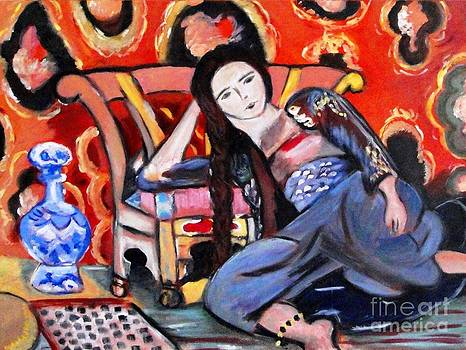 Lady Sitting On Floor by Helena Bebirian
