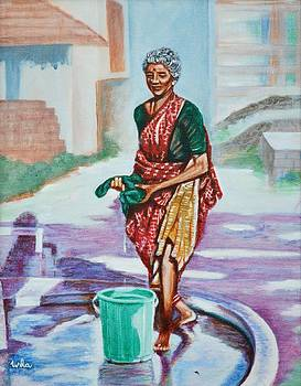 Usha Shantharam - Lady washing clothes