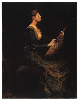 Thomas Wilmer Dewing - Lady with a Lute