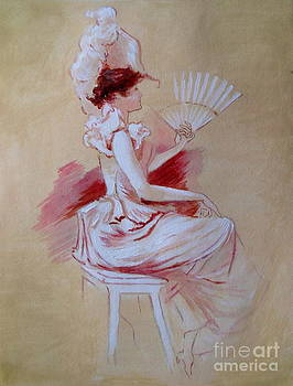 Elizabeth Crabtree - Lady with Fan - after Jules Cheret