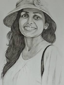 Lady with Hat by Bindu N