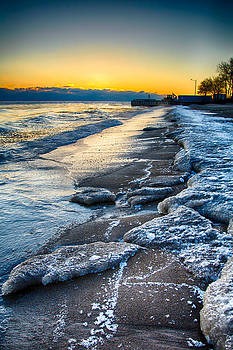 Lake Michigan Sunrise 12-7-13 002 by Michael  Bennett
