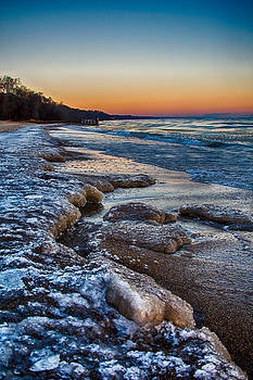 Lake Michigan Sunrise 12-7-13 004 by Michael  Bennett