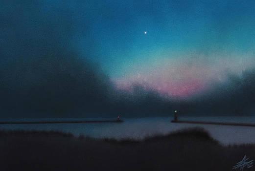 Robin Street-Morris - Lake Michigan with Evening Star