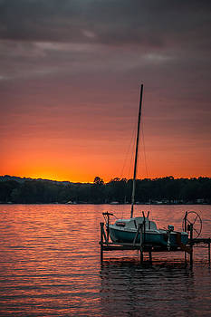 Lake Sunset and Sailboat by At Lands End Photography