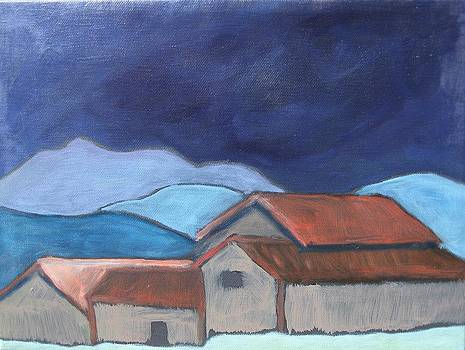 Lakeville Rd. Barns Under Mt. Tamalpais by Molly Fisk