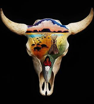 Lakota Bison Skull by Joy Bradley