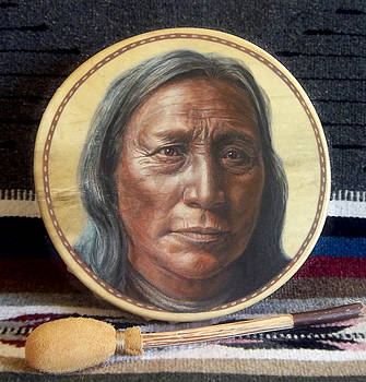 Lakota Painted Drum by Stu Braks