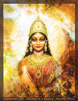 Lakshmi Goddess of Abundance in a Galaxy by Ananda Vdovic