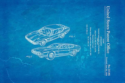 Ian Monk - Lamborghini Espada Design Patent Art 1970 Blueprint