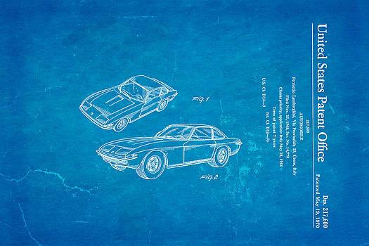 Ian Monk - Lamborghini Islero Design Patent Art 1970 Blueprint