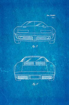 Ian Monk - Lamborghini style GMC Automobile 2 Patent Art 1974 Blueprint