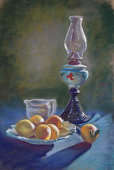 Lamp and Lemons Still Life by Lynda Robinson
