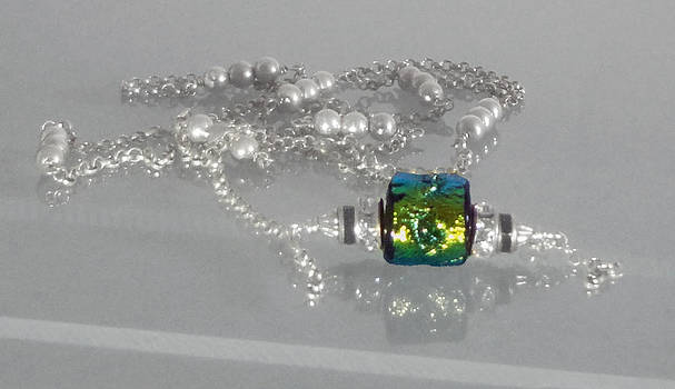 Lampwork Dichroic Barrel Bead Sterling Silver Chain Swarovski Crystal Necklace by Robin Copper