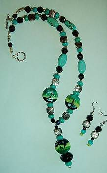Lampwork Waves and genuine Turquoise Necklace and Earring Set by Sharon Leigh