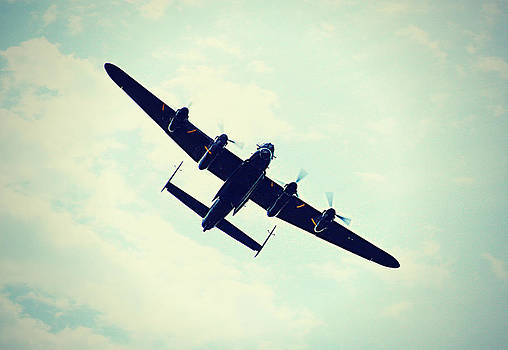 Lancaster Bomber In Flight. by Rosanna Zavanaiu