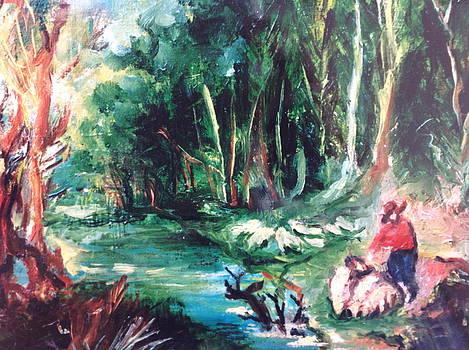 Landscape in the woods by Egidio Graziani