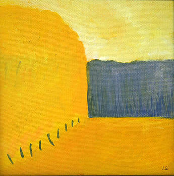 Landscape in yellow and blue by Victoria Sheridan