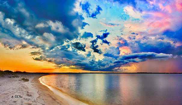Landscape Panorama-Blue Purple Pink Cloud Sunset Reflection by Eszra Tanner