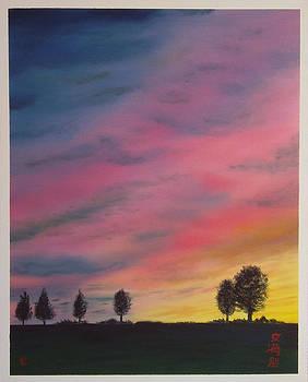 Landscape sunset in Memenbetsu cho Japan by Gianluca Cremonesi