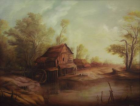 Landscape with old romanian watermill by Dan Scurtu