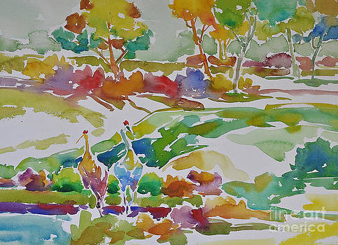 Landscape with Sand Hill Cranes II by Roger Parent
