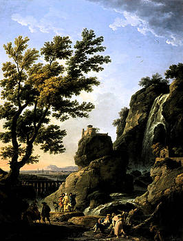 Landscape with Waterfall by Joseph Vernet