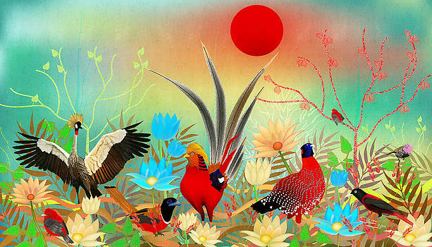 Landscapes with birds and red sun - Limited Edition Of 15 by Gabriela Delgado