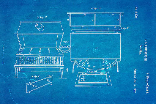 Ian Monk - Langstroth Bee Hive Patent Art 1852 Blueprint