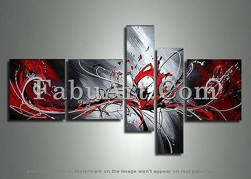 Large Red Abstract Painting 414 - 66 x 36in by FabuArt