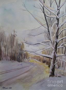 Martin Howard - Last Winter Sunset Snow Scene