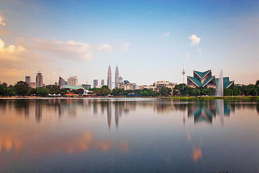Late afternoon reflection of KLCC by Virginie Blanquart