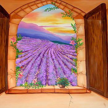 Lavender Fields Window by Karen R Scoville