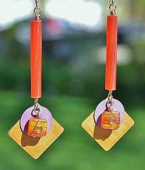Layered Purple And Orange Earrings by Kelly Nicodemus-Miller