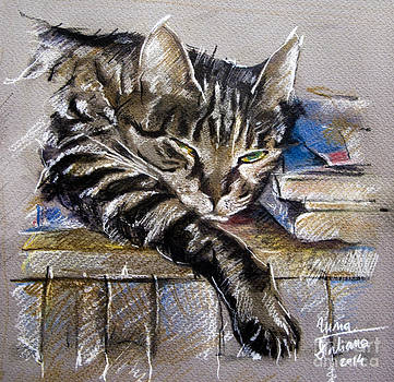 Lazy Cat Portrait - Drawing by Daliana Pacuraru