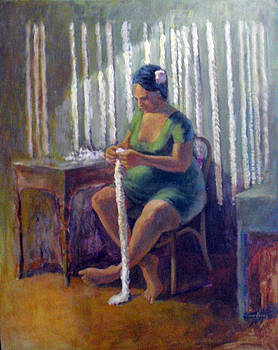 Lei making in Hawaii by Jack Edson Adams