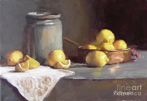 Lemons in copper pan  by Viktoria K Majestic