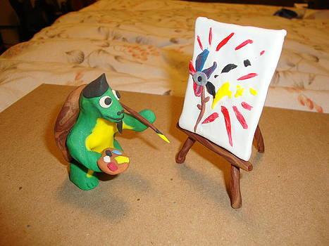 Leonardo The Mutant Painting Turtle by Scott Faucett