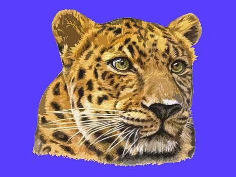 Leopard PopArt Blue by Nicole Zeug