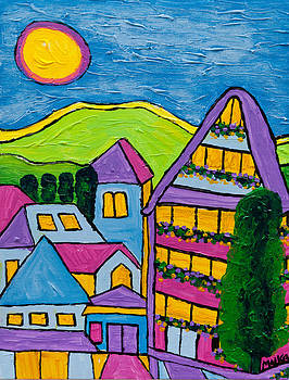 Les Alpes III-Leysin Village by Marlene MALKA Harris